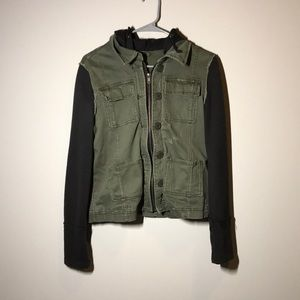 Free people hoodie jacket military tweed green
